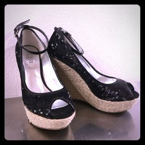 Guess Black Sequined Wedges with Ankle Straps